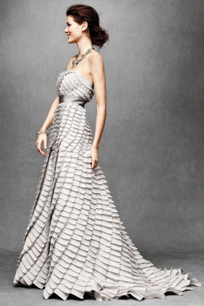 Cement Pleated Fantasy Gown | BHLDN