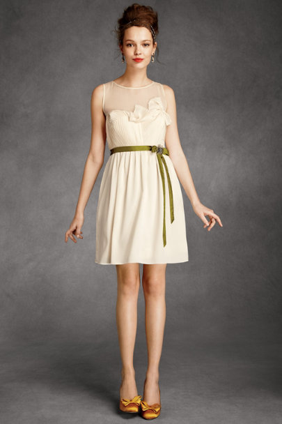 Hitherto Parchment Origami Pleated Dress | BHLDN