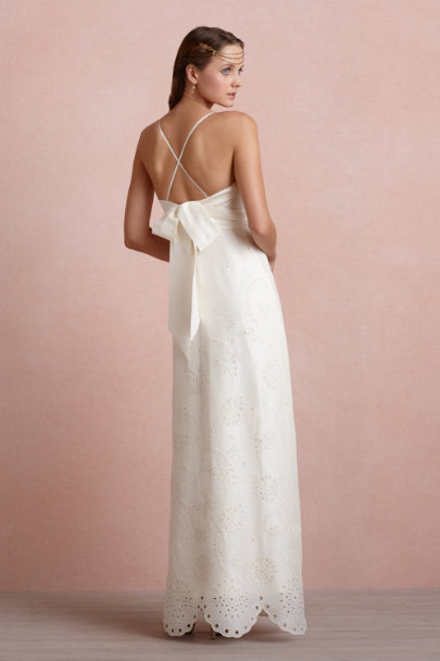 Clean Ivory Eyelet Medley Sheath | BHLDN