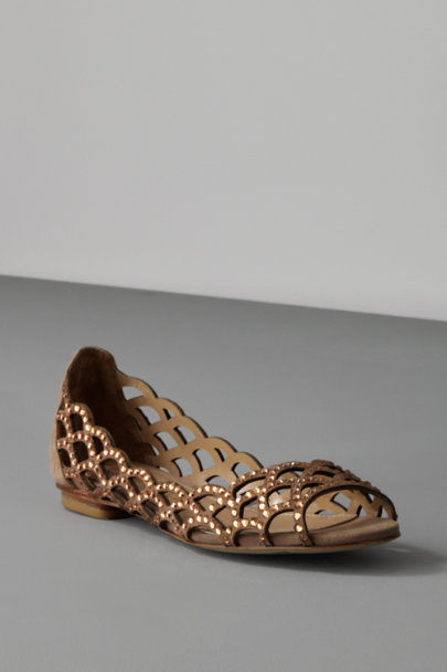 LOLA CRUZ Taupe Shimmering Lattice Skimmers | BHLDN