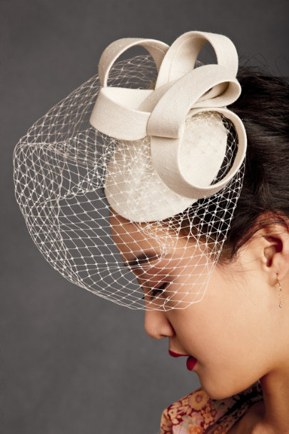 Nicole & Co. Ivory Silk Coil Hat | BHLDN