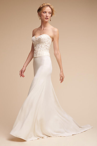 Maryna Corset Top Sade Skirt In Bride Bhldn