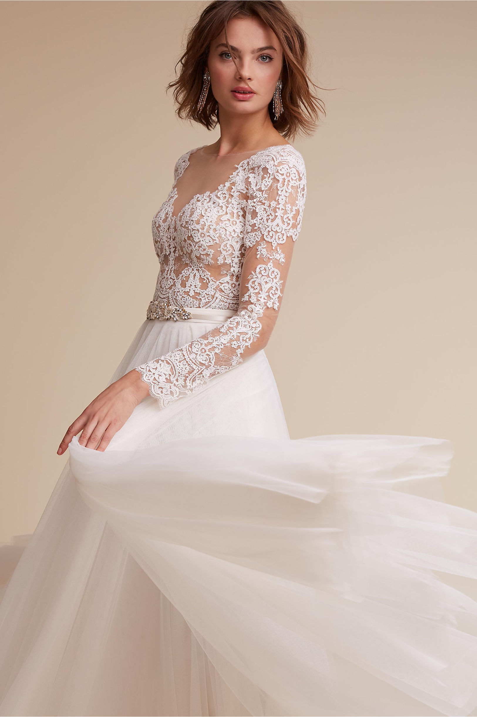 Wedding Dresses with Sleeves  Long Lace Cap Sleeve BHLDN