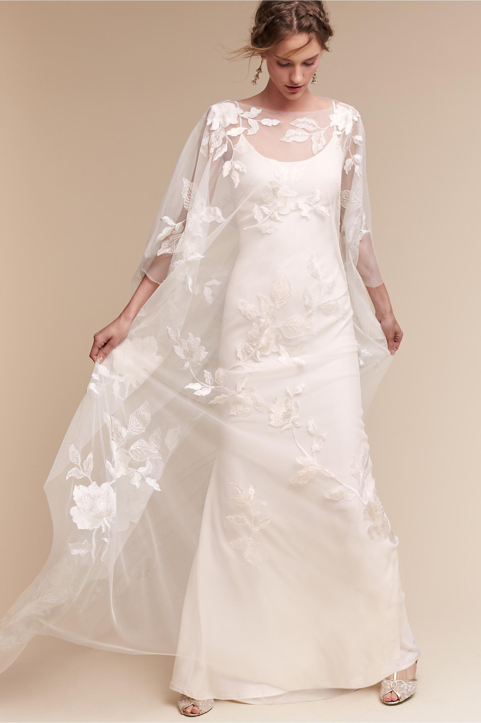 rhiannon cape monroe gown wedding dress with cape Rhiannon Cape Monroe Gown BHLDN