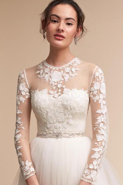 Jessica bodysuit delphi skirt in bride bhldn for Long sleeve wedding dress topper