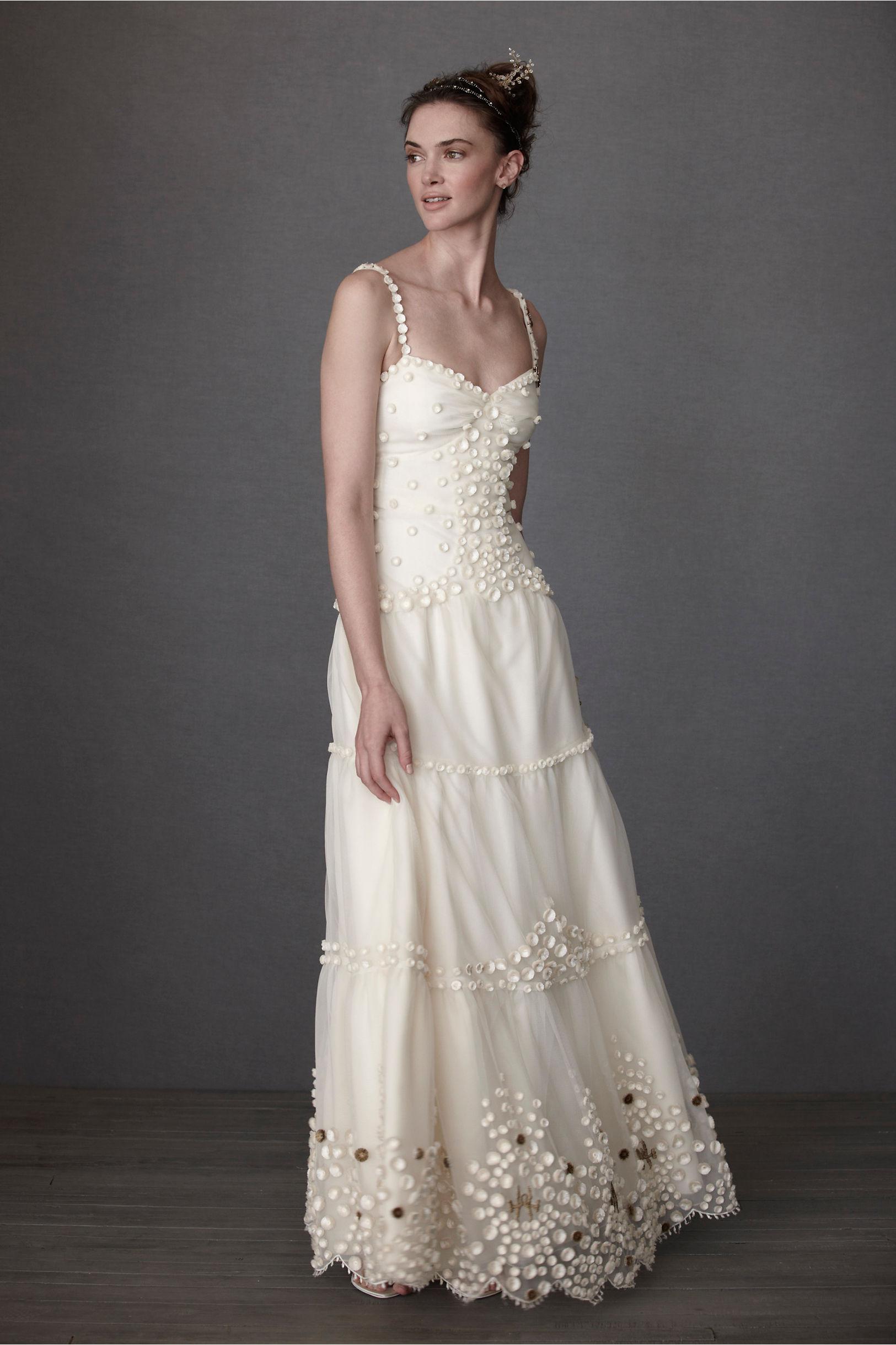 dappled alabaster sheath rustic style wedding dresses Anna Sui Ivory Dappled Alabaster Sheath BHLDN