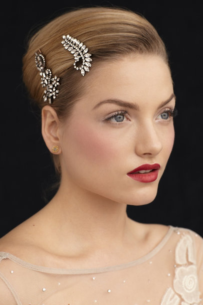 Jennifer Behr Crystal Gunmetal Crystal Fern Hairpin | BHLDN