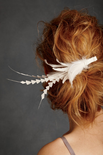 Jane Tran White Deco Feather Clip | BHLDN