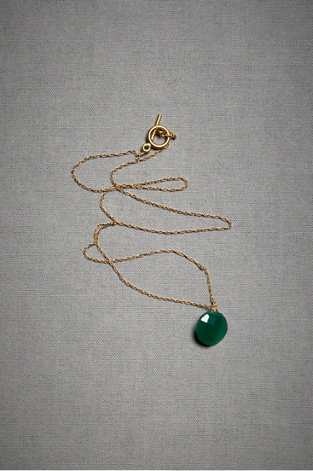 Green Onyx Droplet Necklace