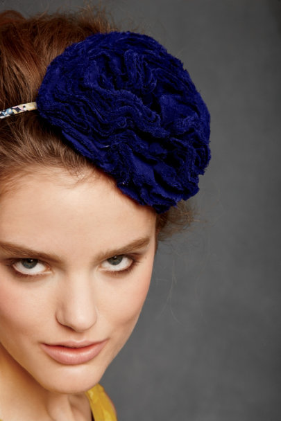 pomp & ceremony Blue Pompom Rose Headband | BHLDN