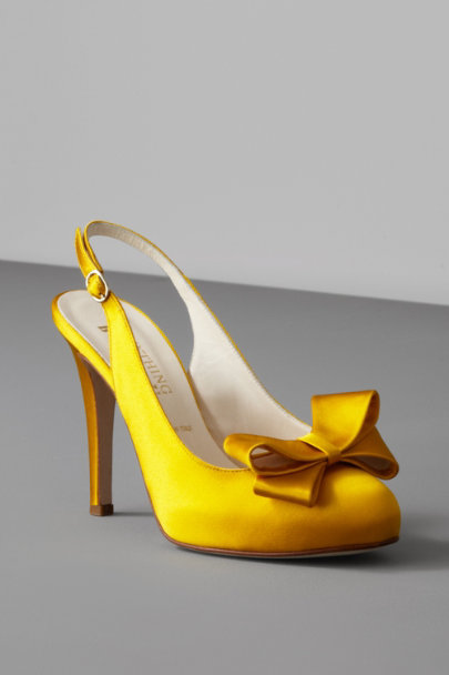 Saffron Bow-Topped Slingbacks | BHLDN
