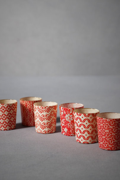 Red & White Motif Lumière Votives, Short (6) | BHLDN