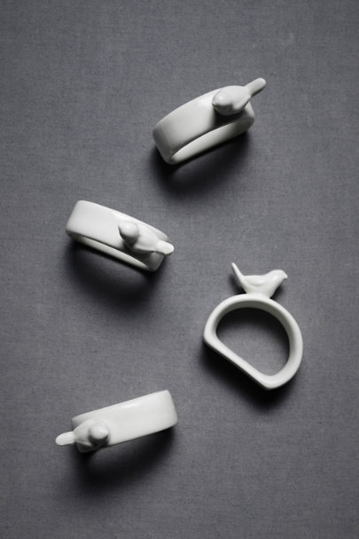 White Porcelain Sparrow Napkin Rings (4) | BHLDN