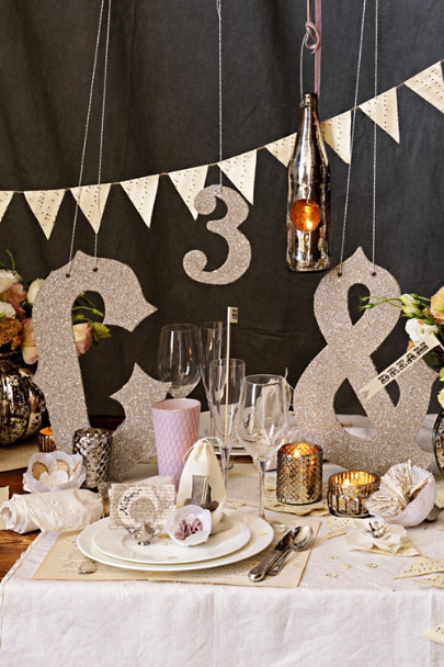 Cream & Black Mini Pennant Garland (5) | BHLDN