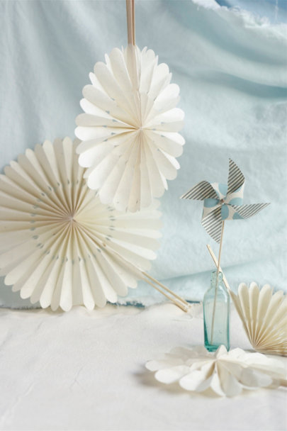 Blue Striped Paper Pin Wheels (5) | BHLDN