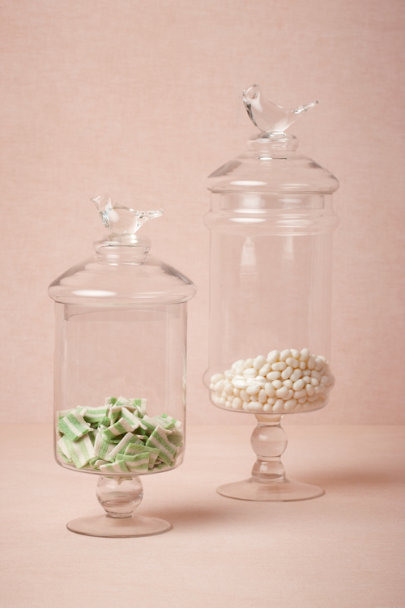 Clear Glass Swallow Confection Jars | BHLDN