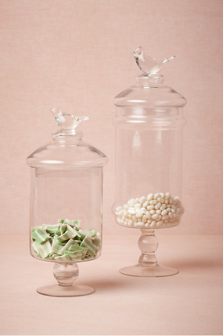 Glass Swallow Confection Jars