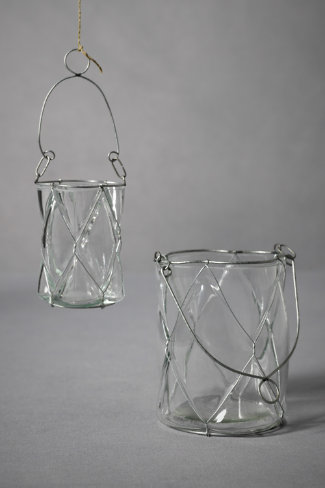 Dimpled Pane Candle Baskets