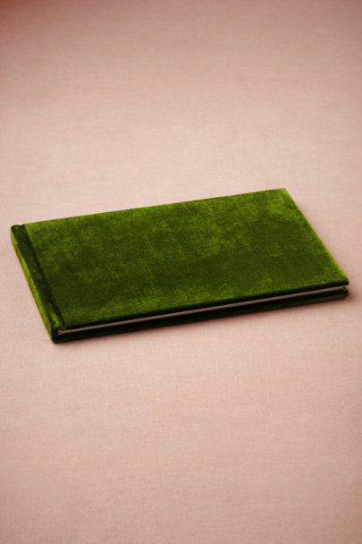 emerald Handsome Velvet Guestbook | BHLDN