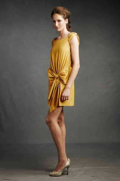 Hitherto Gold Bowknot Pocket Shift | BHLDN