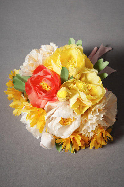 Tangerine Papered Posy Bouquet, Full | BHLDN