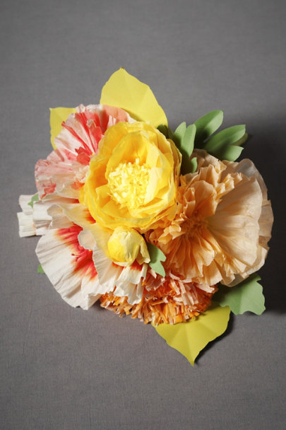 Tangerine Papered Posy Bouquet, Petite | BHLDN