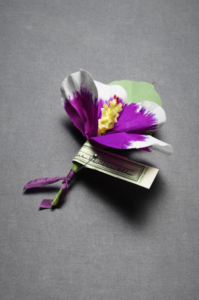 Plum Papered Hibiscus Pin | BHLDN