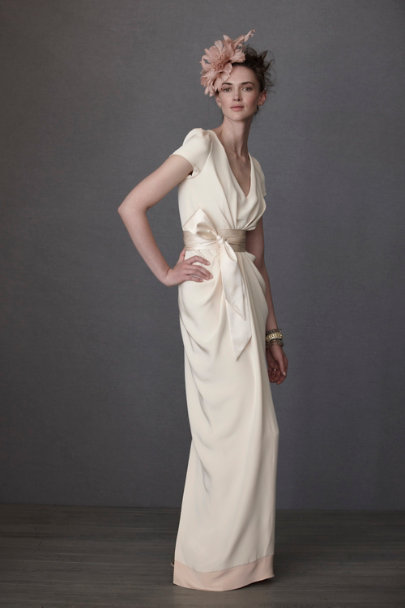 Ivory Crepe De Chine Column Gown | BHLDN