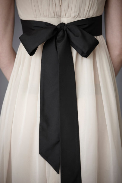 Black Simply Silk Sash | BHLDN