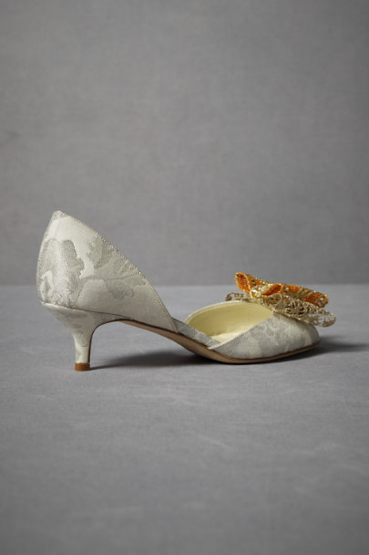 Honore with Orange Ribbon Brocade Kitten Heels | BHLDN