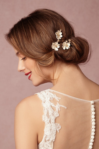 Debra Moreland Ivory Dogwood Flower Hairpins (3) | BHLDN