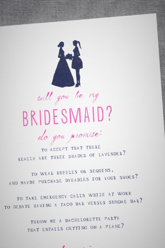 Bridesmaid Silhouette Card