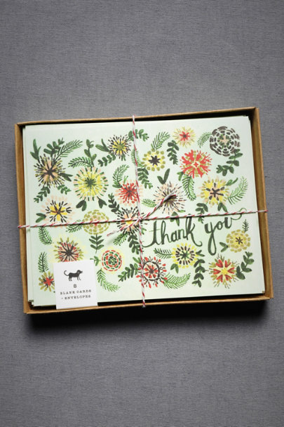 Multi Vintage Garden Thank You Cards (8) | BHLDN