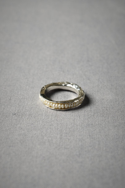 Silver Threaded Pearl Ring | BHLDN