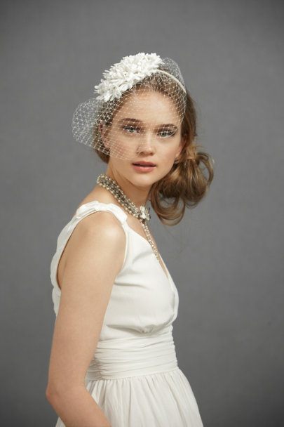 Ivory Hydrangea Blusher Headband | BHLDN