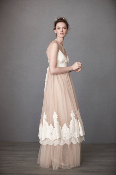 Fleur Wood Blush/Beige Blushing Crinoline Sheath | BHLDN