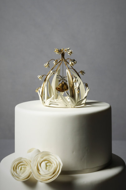 Ivory Crystal Cloche Cake Topper | BHLDN