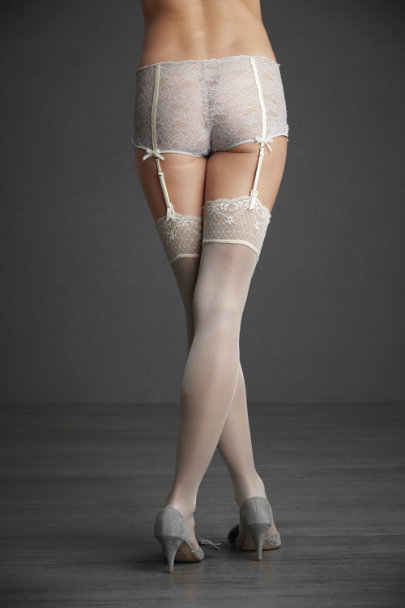 Champagne Shimmering Thigh Highs | BHLDN
