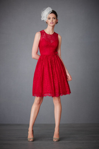 Scarlet Red Crimson Lace Dress | BHLDN