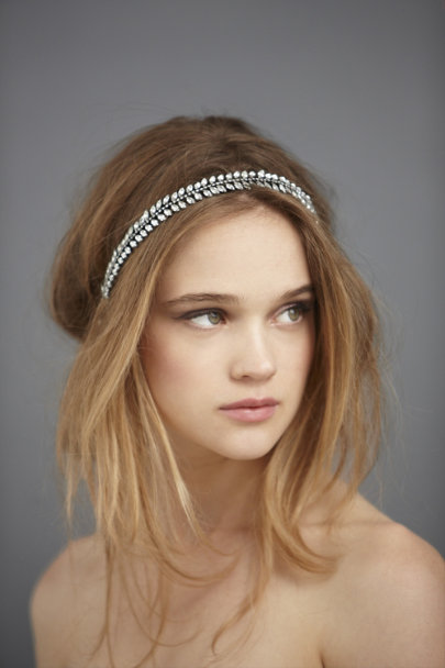 Crystal Gunmetal Leaflet Headband | BHLDN