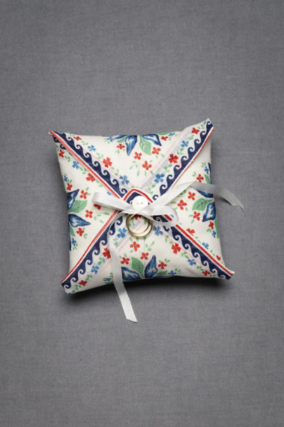 Blue Floral Tied-And-True Ring Pillow | BHLDN