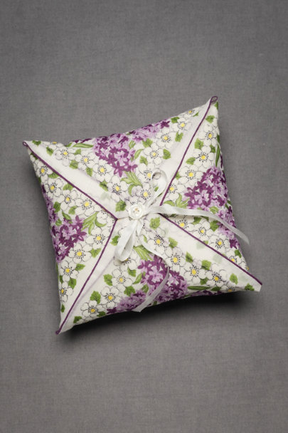 Purple Floral Tied-And-True Ring Pillow | BHLDN