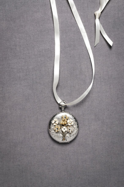 Silver Winged Bouquet Locket | BHLDN