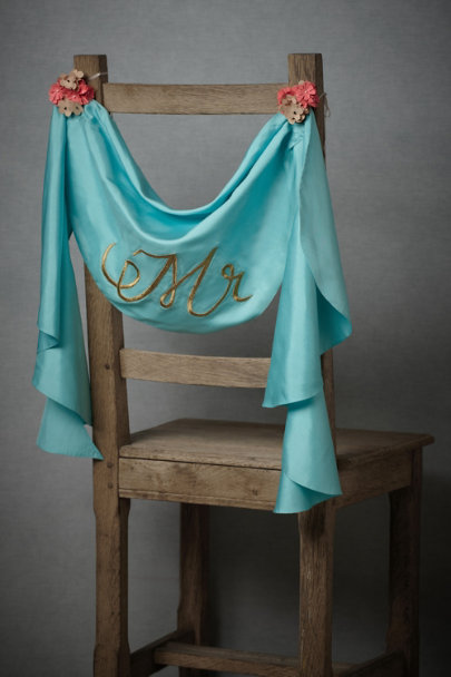 Turquoise Mr. & Mrs. Chair Sashes | BHLDN