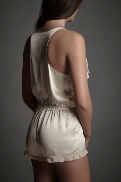 Cream Polished Racerback Romper | BHLDN
