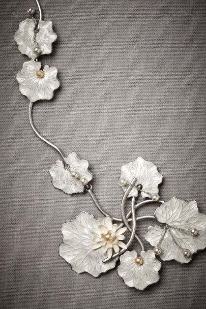 White Lily Pad Necklace | BHLDN