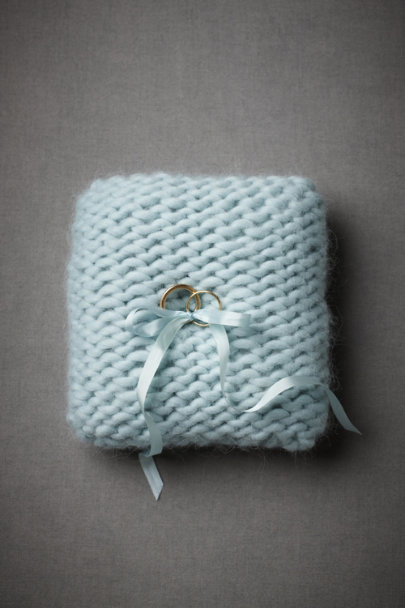Light Blue Stratocumulus Ring Pillow | BHLDN