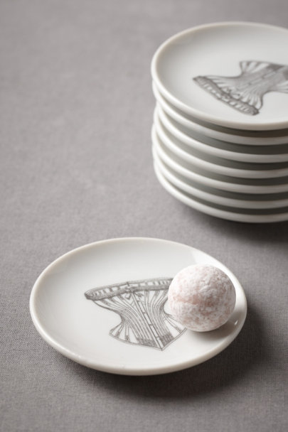 black & white Corset Truffle Plates (8) | BHLDN