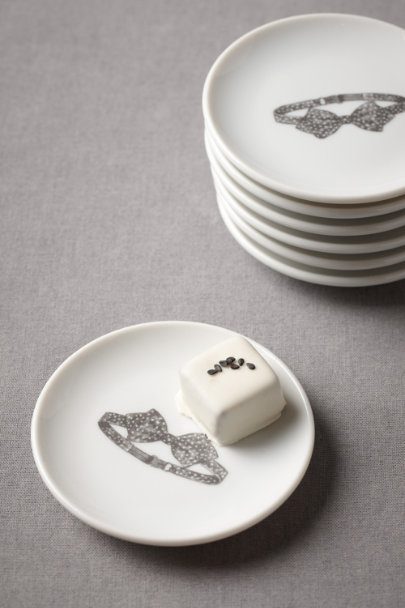 black & white Bowtie Truffle Plates (8) | BHLDN