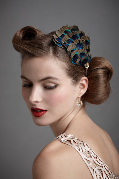 Blue Motif Proud Peacock Headband | BHLDN